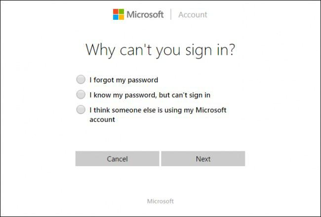 microsoft tool option reset password