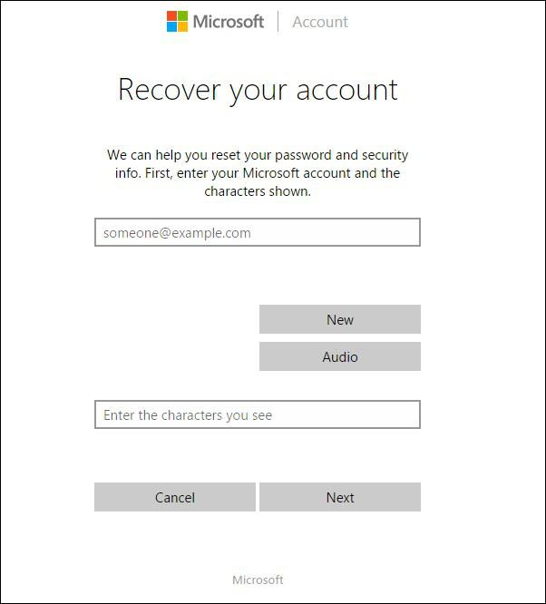 microsoft windows recover your account