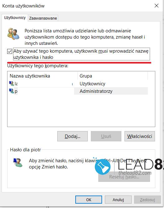 konta użytkowników - aby używać tego komputera użytkownik musi wprowadzić nazwę użytkownika i hasło
